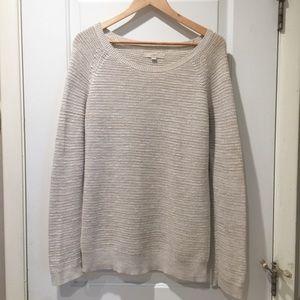 Ann Taylor Loft Cream Tan Knit Crew Sweater L